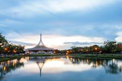 Ratchamangkhala Pavilion at public park name Suan Luang Rama IX on sunset or evening time. Bangkok, Thailand. - September 2, 2017 : Ratchamangkhala Pavilion at stock photography