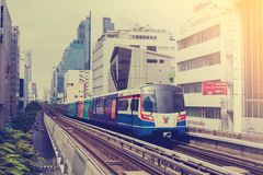 Bangkok Thailand : September 15, 2018 : Two skytrain or BTS go t royalty free stock images