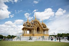 Bangkok, Thailand, 28 September 2017, unrecognized people visiti. Ng Barom Mangalanusarani Pavillian in the area of Ananta Samakhom Throne Hall Royalty Free Stock Photo