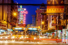 Bangkok, Thailand - SEPTEMBER 25: A view of China Town in Bangkok , Thailand. Street vendors, pedestrians of both locals and touri Royalty Free Stock Photos