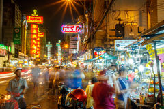 Bangkok, Thailand - SEPTEMBER 25: A view of China Town in Bangkok , Thailand. Street vendors, pedestrians of both locals and touri Royalty Free Stock Image