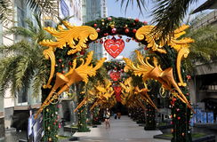 Bangkok, Thailand: Siam Pargon Xmas Decorations Royalty Free Stock Images