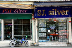 Bangkok, Thailand: Silver Shops near Khao San Rd Stock Photos