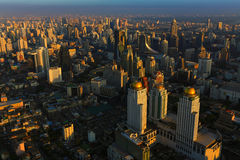 Bangkok Thailand skyline aerial view with beauty of Sunset Stock Photography