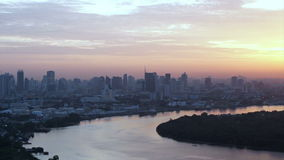 Bangkok, Thailand South East Asia view from top at sunrise skyline over the main river curve stock footage