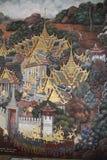 Ramayana Hindu Epic Mural. Bangkok, Thailand - 21st November, 2017: Wall painting at the grand palace depicting the Ramayana Hindu epic story. It covers several Royalty Free Stock Photos