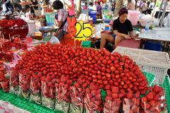 Bangkok, Thailand: Strawberry Seller at Market Stock Image