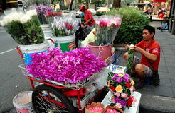 Bangkok, Thailand: Street Flower Vendor Royalty Free Stock Photography
