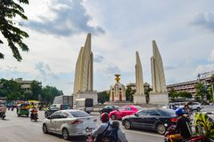BANGKOK, THAILAND - November 11, 2016 : Street View Of Democracy Monument With Sky At Ratchadamnoen Historic Road, The Democracy stock photo