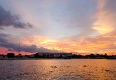 Bangkok (Thailand), sunset on Chao Phraya Royalty Free Stock Photo