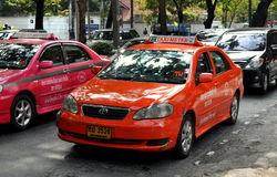 Bangkok, Thailand: Taxi Cabs on Wireless Road Stock Images