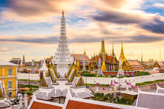 Bangkok Thailand Temples Skyline. Bangkok, Thailand skyline at Temple of the Emerald Buddha and the Royal Palace Stock Photos