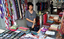 Bangkok, Thailand: Thai Man in Clothing Shop Stock Image
