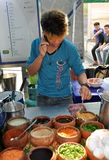 Bangkok, Thailand: Thai Man Selling Food on Street Royalty Free Stock Photography
