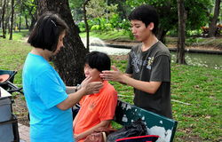 Bangkok, Thailand: Thais Doing Massage Royalty Free Stock Photography