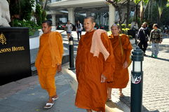 Bangkok, Thailand: Three Buddhist Monks Stock Photos