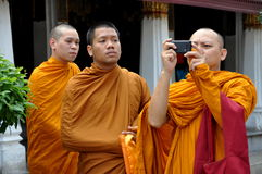 Bangkok, Thailand: Three Monks at Grand Palace Stock Images