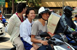 Bangkok, Thailand: Three People on Motorcycle Royalty Free Stock Photo