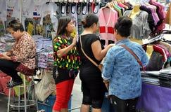 Bangkok, Thailand:  Three Women Shopping at Outdoor Market Stock Photography