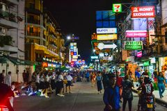 Bangkok, Thailand - November 2, 2016: Tourists and backpackers visited at Khao San Road night market. Khao San Road is a famous stock image