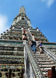 Bangkok, Thailand: Tourists Climbing Wat Arun Stock Photo
