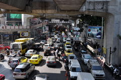 Bangkok, Thailand: Traffic Jam on Sukhamvit Road Royalty Free Stock Images