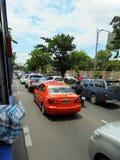 Bangkok-Thailand : traffic jam because traffic signal. Royalty Free Stock Image