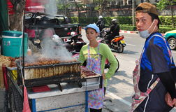 Bangkok, Thailand: Vendors Selling Grilled Meat Stock Image