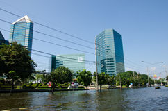 Bangkok Thailand während seiner falschsten Flut. stockbilder