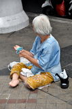Bangkok, Thailand: Woman Begging on Silom Road Stock Image