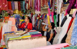 Bangkok, Thailand: Woman in Fabric Shop Royalty Free Stock Image