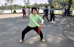 Bangkok, Thailand: Woman Practising Tai 'Chi Stock Photo