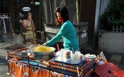 Bangkok, Thailand: Woman Selling Corn on Silom Rd Stock Photos