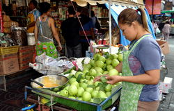 Bangkok, Thailand: Woman Selling Fruits Stock Images