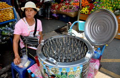 Bangkok, Thailand: Woman Selling Iced Fruit Sticks Stock Photo