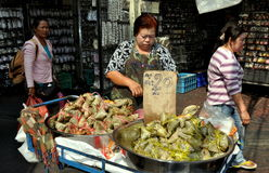 Bangkok, Thailand: Woman Selling Rice Treats Stock Photo