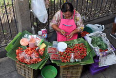 Bangkok, Thailand: Woman Selling Strawberries Stock Photos