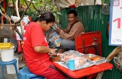 Bangkok, Thailand: Woman Slicing Pork Stock Photos
