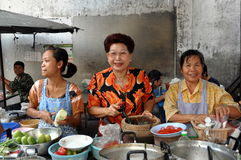 Bangkok, Thailand: Women at Chinatown Restaurant Royalty Free Stock Image