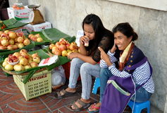 Bangkok, Thailand: Women Selling Pomegranates Royalty Free Stock Photo