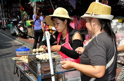 Bangkok, Thailand: Women Selling Sausages Royalty Free Stock Photography