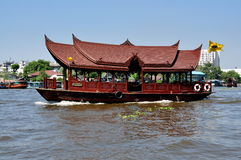 Bangkok, Thailand: Wooden Chao Praya River Boat Stock Photo
