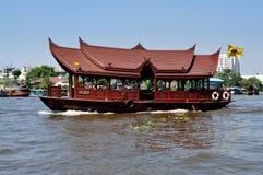 Bangkok, Thailand: Wooden Chao Praya River Boat Stock Photo