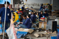 Bangkok, Thailand, Workers in a building site Royalty Free Stock Photo