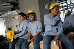 Bangkok, Thailand, Workers in a building site Stock Photo