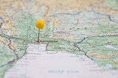 Bangkok, Thailand, Yellow Pin, Close-Up of Map. Stock Photo