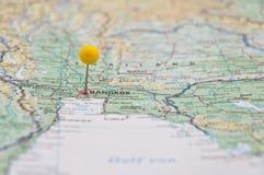 Bangkok, Thailand, Yellow Pin, Close-Up of Map. Macro of Yellow Pin, Bangkok, Thailand, Close-Up of Map stock photo