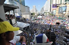 Bangkok/Thailand - 01 13 2014: The Yellow Shirts block Asok as part of `Shutdown Bangkok` operation.  stock image