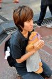 Bangkok, Thalland: Girl Praying with Teddy Bear Stock Images