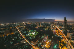 Bangkok top view taken by fisheye lens Royalty Free Stock Photography
